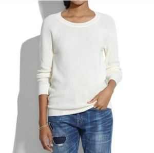 Madewell White Leaf Stitch Crewneck Sweater Size S